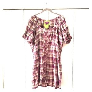 Joe Browns rouched plaid tunic sz.22